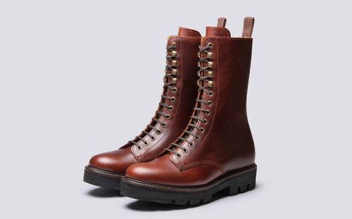Grenson Sullivan in Brown Pull Up Leather - 3 Quarter View