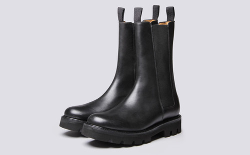 Grenson Albie in Black Pull Up Leather - 3 Quarter View