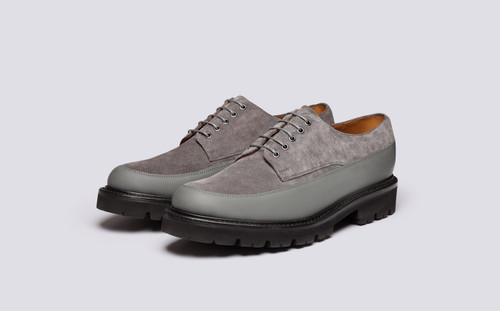 Grenson Earl in Grey Suede - 3 Quarter View