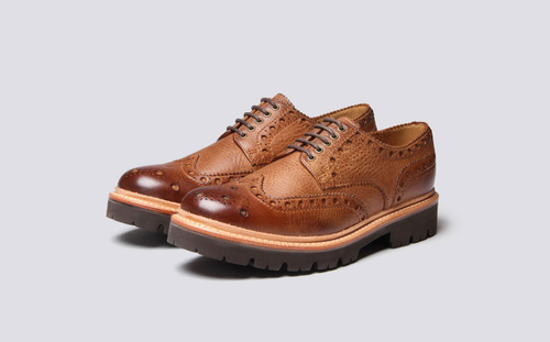 Grenson Archie in Brown Washed Nubuck - 3 Quarter View