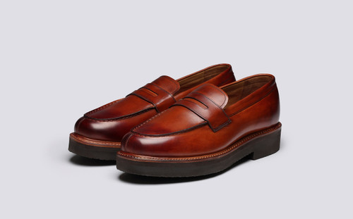 Grenson Peter in Tan Hand Painted Calf Leather - 3 Quarter View