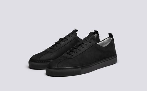 Grenson Sneaker 1 Men's in Black Nubuck - 3 Quarter View