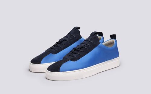 Grenson Sneaker 1 Men's in Blue Ripstop/Suede - 3 Quarter View