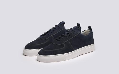 Grenson Sneaker 22B Men's in Blue Suede - 3 Quarter View