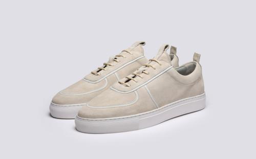Grenson Sneaker 22B Men's in White Suede - 3 Quarter View