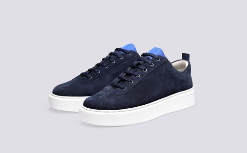 Grenson Sneaker 30 Men's in Blue Ripstop/Suede - 3 Quarter View