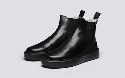 Grenson Sneaker 38 Men's in Black Calf Leather - 3 Quarter View