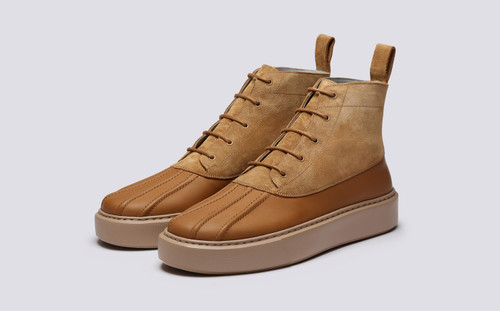 Grenson Sneaker 39 Men's in Brown Suede/Rubberised Leather - 3 Quarter View