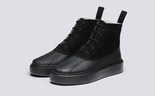 Grenson Sneaker 39 Men's in Black Suede/Rubberised Leather - 3 Quarter View