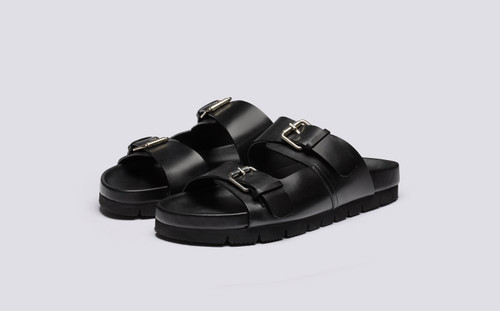 Grenson Florin in Black Calf Leather - 3 Quarter View