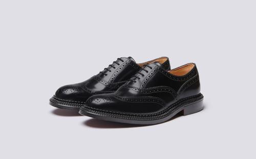 Grenson Harrow in Black Bookbinder Leather - 3 Quarter View
