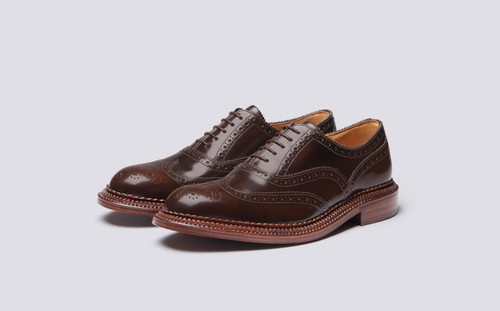 Grenson Harrow in Brown Bookbinder Leather - 3 Quarter View