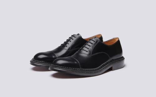 Grenson Gresham in Black Bookbinder Leather - 3 Quarter View