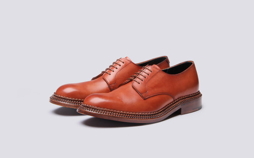 Grenson Rosebery in Tan Hand Painted Calf Leather - 3 Quarter View