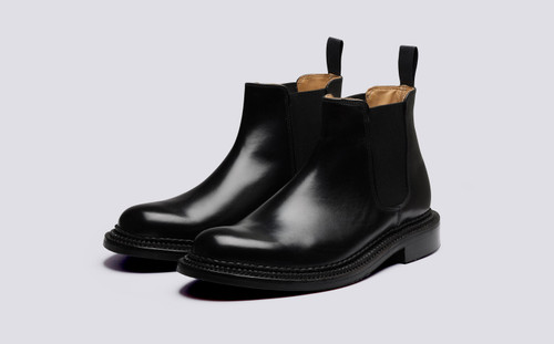 Grenson Christopher in Black Bookbinder Leather - 3 Quarter View