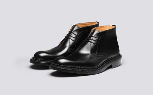 Grenson Marcus in Black Bookbinder Leather - 3 Quarter View