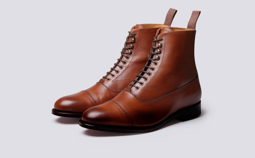 Grenson Balmoral in Brown Calf Leather - 3 Quarter View