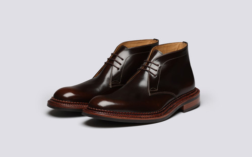 Grenson Marcus in Brown Bookbinder Leather - 3 Quarter View