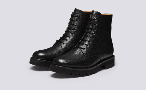 Hadley | Mens Boots in Black Natural Grain Leather | Grenson - Main View