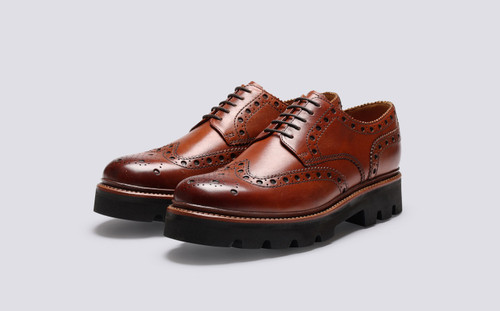 Archie | Mens Brogues in Tan Leather | Grenson - Main View