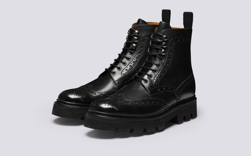 Fred | Mens Boots in Black Leather | Grenson - Main View