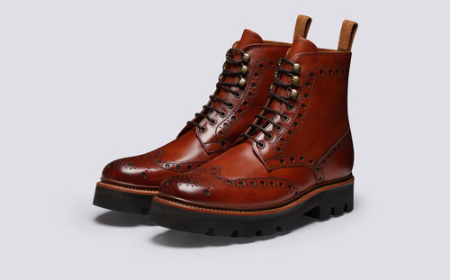Fred | Mens Boots in Tan Handpainted Leather | Grenson - Main View