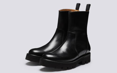 Darren | Mens Black Boots with Zip | Grenson - Main View
