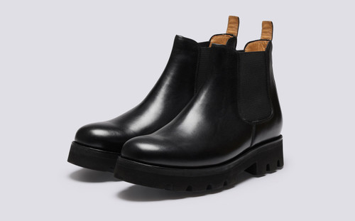 Grenson Warner in Black Pull Up Leather - 3 Quarter View