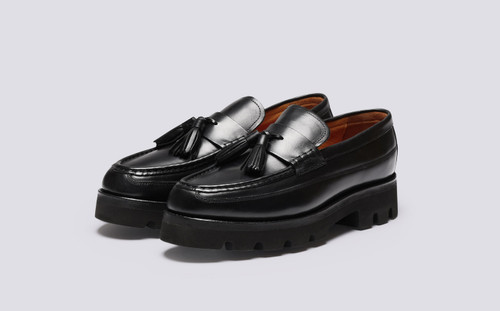 Booker | Mens Loafers in Black Pull Up Leather | Grenson - Main View