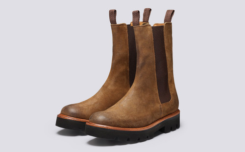 Albie | Mens Chelsea Boots in Snuff Suede  | Grenson - Main View