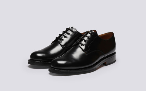 Griffith | Mens Shoes in Black Hi Shine Leather | Grenson - Main View