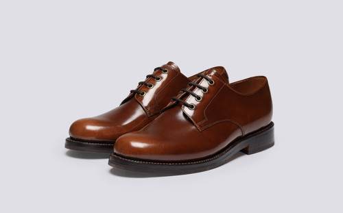 Griffith | Shoes for Men in Tobacco Hi Shine Leather | Grenson - Main View