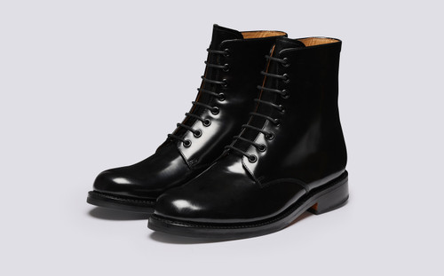 Hadley | Mens Boots in Black Hi Shine Leather | Grenson - Main View