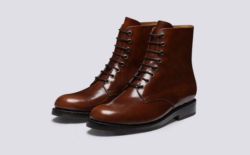 Hadley | Mens Boots in Tobacco Hi Shine Leather | Grenson - Main View