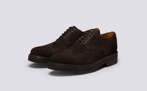 Archie | Mens Brogues in Brown Suede | Grenson - Main View
