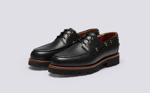 Dempsey | Mens Shoes in Black Natural Grain Leather | Grenson - Main View