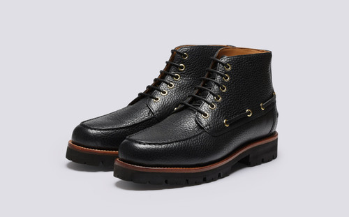 Easton | Mens Boots in Black Natural Grain Leather | Grenson - Main View