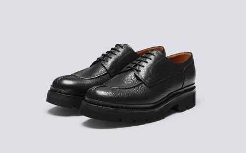Joel | Mens Shoes in Black Natural Grain | Grenson - Main View