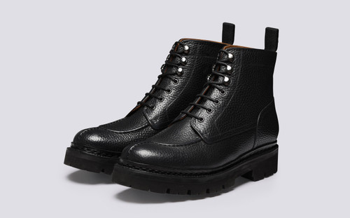 Jonah | Mens Boots in Black Grain Leather | Grenson - Main View
