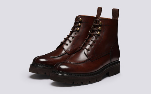 Jonah | Mens Boots in Brown Handpainted Leather | Grenson - Main View