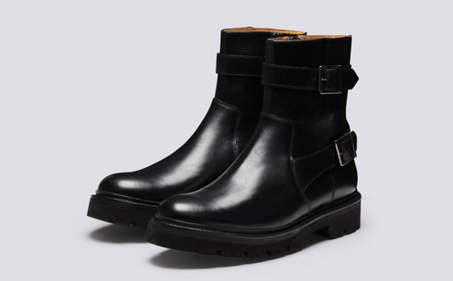 Drake | Mens Black Boots with Zip | Grenson - Main View