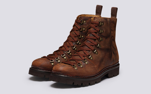 Brady | Mens Hiker Boots in Brown Rambler Leather | Grenson - Main View