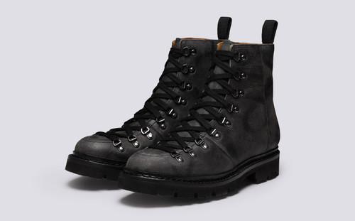 Brady | Mens Hiker Boots in Black Rambler Leather | Grenson - Main View