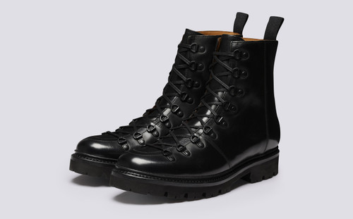 Brady | Mens Hiker Boots in Black Colorado Leather | Grenson - Main View