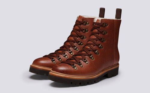 Brady | Mens Hiker Boots in Tan Natural Grain Leather | Grenson - Main View