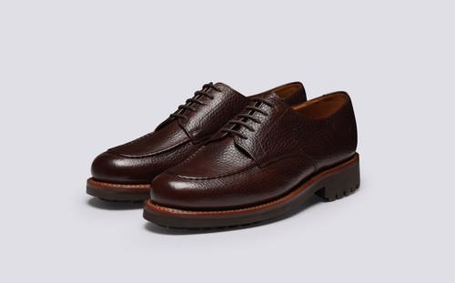 Parker | Mens Shoes in Dark Brown Natural Grain | Grenson - Main View