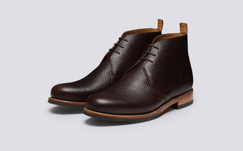 Wendell | Mens Chukka Boots in Dark Brown Leather | Grenson - Main View