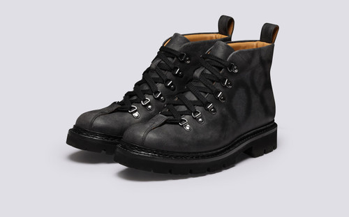 Bobby | Mens Hiker Boots in Black Rambler Leather | Grenson - Main View