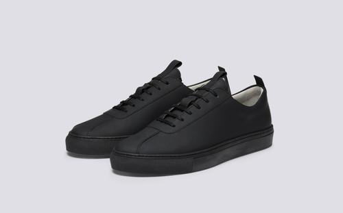 Grenson Sneaker 1 for Men in Black Rubberised Leather - Main View