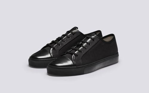 Sneaker 44 | Sneakers for Men in Black Canvas | Grenson - Main View